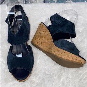 Cordani Rhonda cork wedge navy suede sandals 36 6